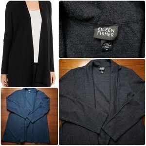 Eileen Fisher Wool Open Front Cardigan Sz M